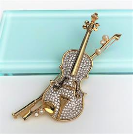 ",RETIRED PAVE VIOLIN BROOCH WITH FAUX PEARL ACCENTS. 4.2"" LONG, 3"" WIDE"