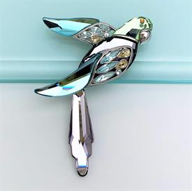 ",RETIRED 'BARACOA' CRYSTAL PARADISE PARROT BROOCH WITH ORIGINAL BOX. STERLING SILVER BACK. 2.8"" LONG, 2.25"" WIDE"