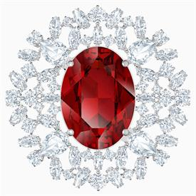 "_,'LOUISON' BROOCH IN RED. RHODIUM PLATED. 1.75"" WIDE"