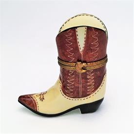 ",RETIRED PARRY VIEILLE COWBOY BOOT WITH HORSE HEAD CLASP. HAND PAINTED, SIGNED. 2.6"" TALL, 2.55"" LONG, 1"" WIDE"