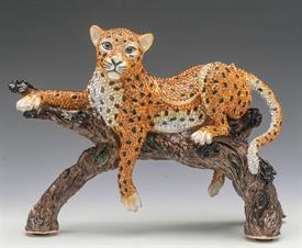 "_,LARGE LEOPARD ON BRANCH TRINKET BOX. 9"" LONG, 7.25"" TALL, 3.75"" WIDE"