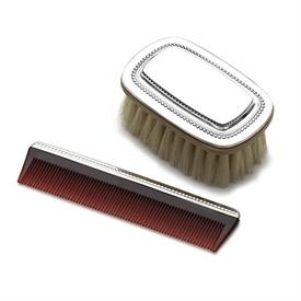 -,$ Boy's Beaded Brush & Comb Set Sterling Silver made by Gorham