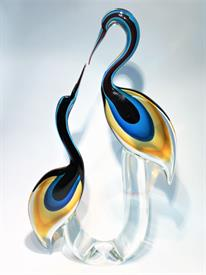 """,HERON COUPLE BY MASTER ARTIST OSCAR ZANETTI. 22"""" TALL X 13"""" WIDE. OGGETTI ITALY STICKER. A STUNNING EXAMPLE OF HIS WORK!"""