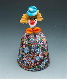 "MURANO MILLEFIORI CLOWN HEAD BELL 6 3/8""T X 3 3/8"" W CLAPPER FULLY INTACT"