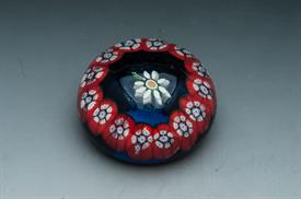 """MILLE FLEUR PAPERWEIGHT. 1.75"""" TALL. RED AND BLUE DESIGN"""