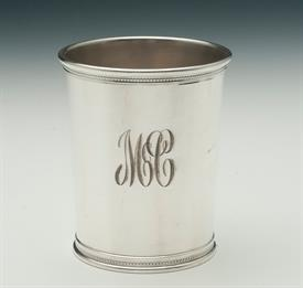 "REED & BARTON X253 JULEP CUP STERLING SILVER GRF PRESIDENTIAL DATE MARK 3.80"" TALL 4.95 TROY OUNCES MONOGRAMMED ""MC"" ""XMAS 1974"""