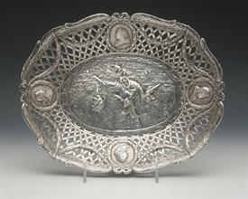 ",MEDALLION AND CHERUB THEMED ENGLISH BOWL MADE IN SHEFFIELD ENGLAND BY SAMUEL BOYE LANDECK. 14.90 TROY OUNCES 10.5"" X 8.5"" X 1.5"". CA.1896"