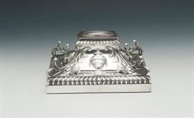 ",ORNATE INKWELL. MADE IN SHEFFIELD,ENGLAND BY HAWKSWORTH, EYRE & CO LTD. CIRCA 1898. 5"" SQUARE"