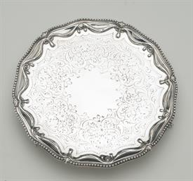 ",RICHARD RUGG I. SMALL ENGLISH SALVER 3 BALL FEET 13.30 TROY OUNCES STERLING SILVER 8.25"" DIAMETER MADE IN LONDON,CIRCA 1774"