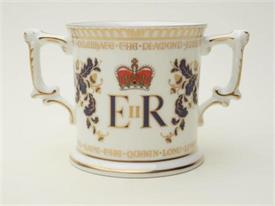 ",_DIAMOND JUBILEE 2 HANDLED MUG. 3""X3"". ORG PRICE $245"