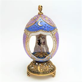 ",HOUSE OF FABERGE 'MOONLIGHT MUSICAL CAROUSEL' EGG MUSIC BOX. 7.25"" TALL, 3.75"" WIDE"