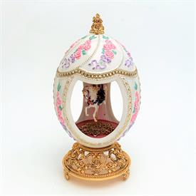 ",HOUSE OF FABERGE 'CAROUSEL WALTZ' MUSICAL EGG FIGURINE. 7.25"" TALL, 3.75"" WIDE"