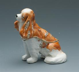 "-JEWELED KING CHARLES DOG BROWN & WHITE 2.25"" X3"" X 2"""