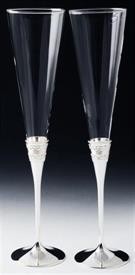 "_,TOASTING FLUTES Pair,10.5"" Tall,silver plated base."
