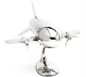 _9790 Airplane Cocktail Shaker on stand nickel plated 11 1/4 x 10 3/4 x 8