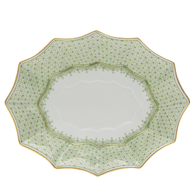 "-LARGE FLUTED TRAY. 11.5"" LONG, 9.25"" WIDE"