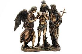 "_,WU75248A4 THE BAPTISM OF CHRIST 10.75""T MADE OF COLD CAST BRONZE"