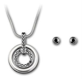 _5030714 CIRCLE SET W/RHODIUM PLATED CHAIN W/ MATCHING STUD EARRINGS. REGULAR PRICE $115