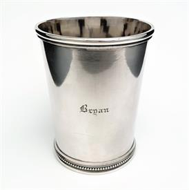 ",HAYDEN & WHILDEN WITH GROSJEAN & WOODWARD MINT JULEP CUP W/ BEADING. ENGRAVED 'BRYAN'. 4 1/8""T X 3.25""D. 7.25OZT. RARE SOUTHERN COIN SILVER"