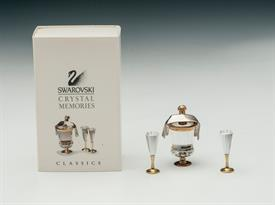 ,4PC CHAMPAGNE SET WITH COOLER & BOTTLE, NAPKIN AND 2 CHAMPAGNE FLUTES. WITH ORIGINAL BOX. #191 586