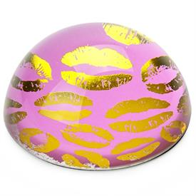 -KISSES PINK & GOLD DESKTOP CRYSTAL DOME PAPERWEIGHT. 3""