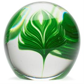 "-5"" PALM LEAF GLASS PAPERWEIGHT"