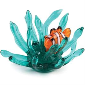 "-:MINI CLOWNFISH IN ANEMONE FIGURINE. 2.25"" WIDE"