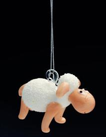 _,26907 WHITE SHEEP WITH CORD FOR HANGING
