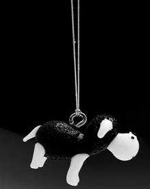 _,26906 BLACK SHEEP WITH CORD FOR HANGING'