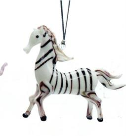 _,ZEBRA ART GLASS ORNAMENT MADE BY DYNASTY GALLERY