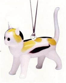 "_,CALICO CAT   2""LONG  WHITE WITH BLACK AND TAN SPOTS ART GLASS ORNAMENTS MADE BY DYNASTY GALLERY"