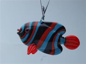 _,FISH RED/BLUE/BLACK ART GLASS ORNAMENTS MADE BY DYNASTY GALLERY