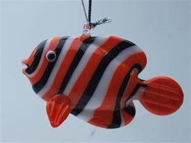 _,FISH ORANGE/WHITE/BLACK ART GLASS ORNAMENTS MADE BY DYNASTY GALLERY