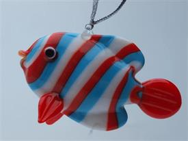 _,FISH RED/BLUE/WHITE ART GLASS ORNAMENTS MADE BY DYNASTY GALLERY