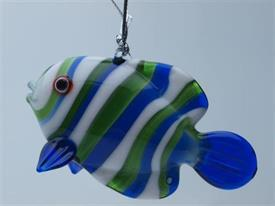 _,FISH BLUE/GREEN/WHITE ART GLASS ORNAMENT MADE BY DYNASTY GALLERY
