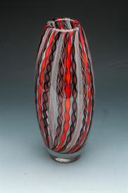 "-CANEWORK TALL VASE 11""H EGGPLANT AND ORANGE GLASS."