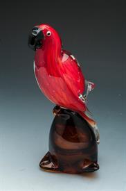 "-RED PARROT 10.5""H RED AND AMBER GLASS.0"