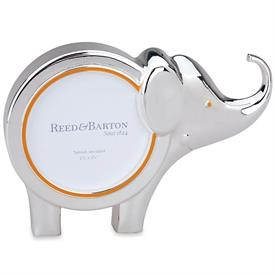 "-9134 2.25"" ROUND ELEPHANT FRAME. 4.4"" TALL, 6.25"" LONG. SILVER-PLATED. BREAKAGE REPLACEMENT AVAILABLE."