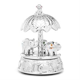 "-CAROUSEL MUSICAL BOX. PLAYS 'BEAUTIFUL DREAMER'. 5.5"" TALL. SILVERPLATED. BREAKAGE REPLACEMENT AVAILABLE."