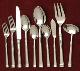 -45pc. SET 18/10 STEEL ALLOY AND A SHINEY FINISH COLUMN STYLE 8 5PC PLACE SETTINGS WITH A 5PC HOSTESS SET.FORK,SPOON,GRAVY SUGAR,BUTTER SERV