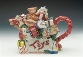 "TOYLAND TEAPOT. 5"" TALL, 10"" LONG"