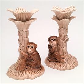 ",PAIR OF MONKEY CANDLESTICKS, MADE IN JAPAN. RARE COLORED EDITION. CA. 1970'S. 7.5"" TALL"