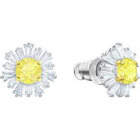 -,5459591 SUNSHINE EARRINGS IN CLEAR & CANARY YELLOW IN RHODIUM PLATE. 1 CM WIDE