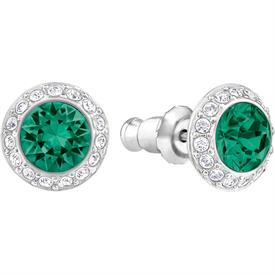 -,5267105 ANGLEIC PIERCED EARRINGS IN CLEAR, EMERALD GREEN, & RHODIUM PLATE. 1 CM WIDE