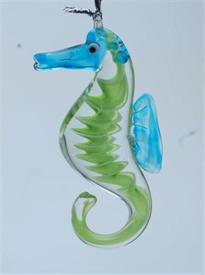 _,SEAHORSE LIME/AQUA ART GLASS CHRISTMAS ORNAMENT BY DYNASTY GLASS