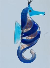 _,SEAHORSE BLUE/ORANGE ART GLASS CHRISTMAS ORNAMENT BY DYNASTY GLASS