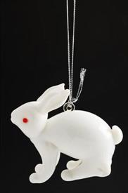 -,RABBIT ART GLASS CHRISTMAS ORNAMENTS BY DYNASTY GLASS