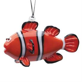 -,CLOWN FISH ART GLASS CHRISTMAS ORNAMENTS BY DYNASTY GLASS