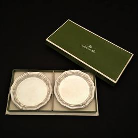 """,PAIR OF 'CONTOURS' SILVER PLATED ASHTRAYS IN ORIGINAL PACKAGING. NEVER USED. 3.5"""" WIDE EACH."""