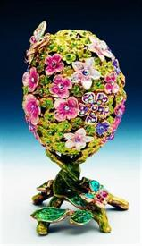 """-1013689 floral egg lime green with pink and lavender flowers 5"""""""